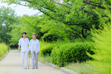 Elderly women and caregivers