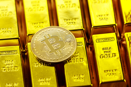 Bitcoin and gold bars