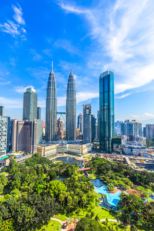 Kuala Lumpur, Malaysia -  May 14,2018 - Petronas Towers and KLCC.Petronas Towers is a high-rise building in Kuala Lumpur, Malaysia.This tower was built in 1998.height is 452 m.