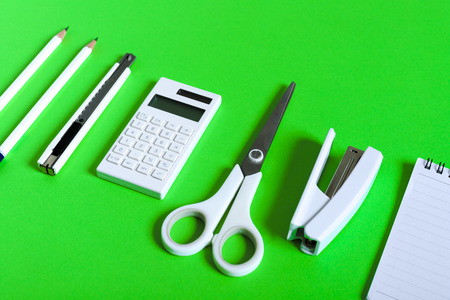 Stationery on green paper