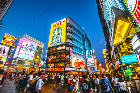 Osaka, Japan -  14 July 2018 - Dotonbori is visited by many tourists from the country abroad.