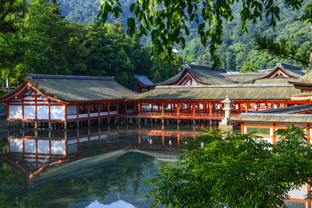 Hiroshima,Japan - July 26,2018 - Miyajima is a small island of Hiroshima in Japan. It is most famous for its giant torii gate, which at high tide seems to float on the water. Editorial