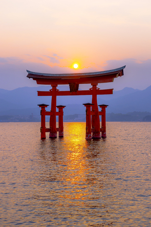 Hiroshima,Japan - July 25,2018 - Miyajima is a small island of Hiroshima in Japan. It is most famous for its giant torii gate, which at high tide seems to float on the water.