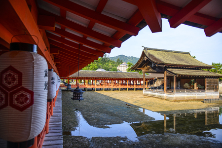 Hiroshima,Japan - July 26,2018 - Miyajima is a small island of Hiroshima in Japan. It is most famous for its giant torii gate, which at high tide seems to float on the water. Editöryel
