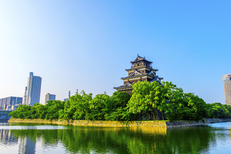 Hiroshima,Japan - July 25,2018 - Hiroshima Castle, called Carp Castle, was a castle in Hiroshima, Japan.The castle was constructed in the 1590s. Editorial