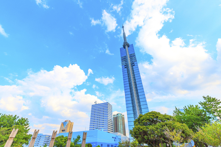 Fukuoka,Japan - July 20,2018 -  Fukuoka tower in Japan.This tower of 234 meters above sea level is the tallest beach tower in Japan.