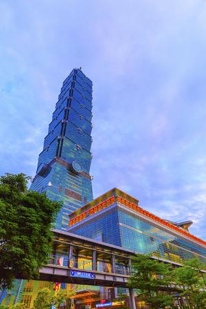 taipei,taiwan - May 9,2018 : Townscape of night in Taipei, Taiwan.Taipei 101 is a landmark supertall skyscraper in Xinyi District. 新闻类图片