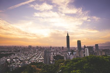 taipei,taiwan - May 10,2018 : Townscape of sunsets in Taipei, Taiwan.Taipei 101 is a landmark supertall skyscraper in Xinyi District.