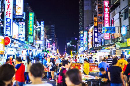 kaohsiung,taiwan - May 11,2018 : The Liuhe Night Market is a tourist night market in Xinxing District, Kaohsiung, Taiwan. It is one of the most popular markets in Taiwan 에디토리얼