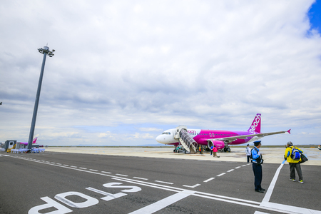 Osaka,Japan - May 9,2018 : Peach is Japans first true LCC bringing low fares and a casual quality of air travel to the people of North Asia and beyond.