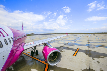 Osaka,Japan - May 9,2018 : Peach is Japan's first true LCC bringing low fares and a casual quality of air travel to the people of North Asia and beyond.