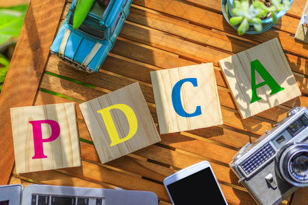 PDCA and business terms Stock Photo