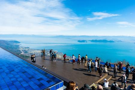 shiga,Japan - November 13,2017 : Biwa Lake Valley at Shiga Japan. Lake Biwa located at the centre of Shiga Prefecture, is the biggest lake in Japan. Stok Fotoğraf - 114645496