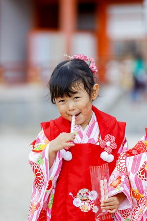 Japanese kids wearing a kimono Reklamní fotografie