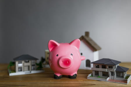 Housing model and piggy bank 写真素材
