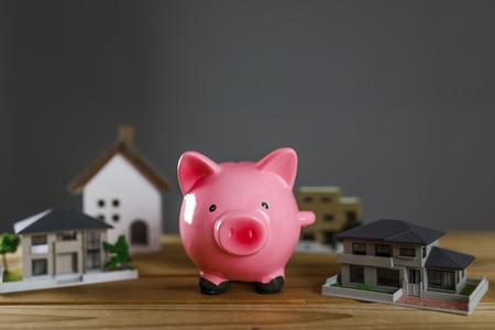 Housing model and piggy bank 写真素材 - 115161867