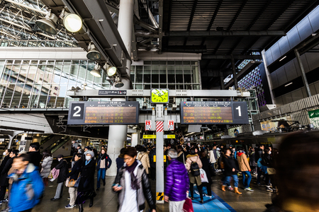 Osaka,Japan - January 21 2018:Osaka Station is a major railway station in Osakas Umeda district that is served by a large number of local and interregional trains Редакционное
