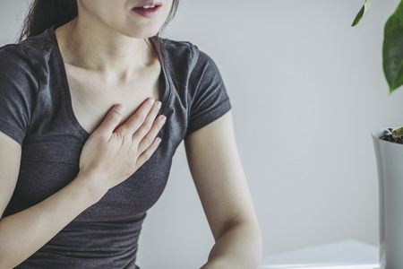 A woman with chest pain