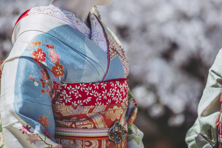 woman wearing a kimono in Kyoto, Japan 写真素材