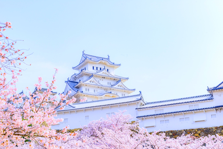 Hyogo,Japan - April 1, 2018: Himeji Castle and Cherry Blossoms in Hyogo, Japan. The castle is one of Japans most famous landmarks.