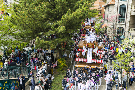 Hyogo, Japan - 14 April 2018 - Takarazuka danjiri parade at Hyogo Japan.Danjiri Matsuri are cart-pulling festivals held in Japan.