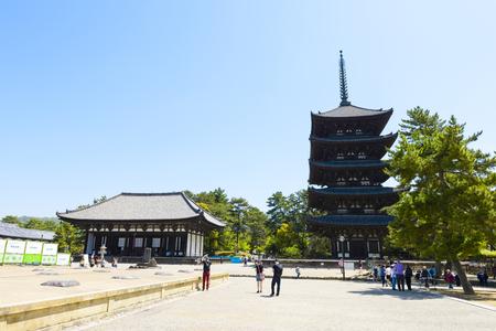 Nara, Japan - April 19, 2018:Kofukuji temple in Nara,Japan. It was established at 710.