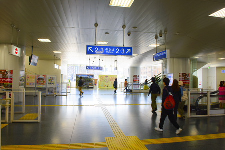 Nara, Japan - April 19, 2018: Nara Station is a railway station located in Nara, Japan. Operated by West Japan Railway Company.