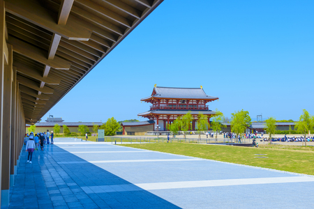 Nara, Japan - April 19, 2018: Heijo-kyu in Nara Japan.Heijo-kyu was the capital city of Japan during most of the Nara period, from 710–40 and again from 745–84.