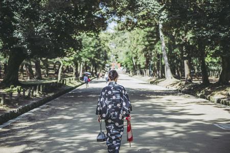 Japanese female kimono and umbrella Stok Fotoğraf