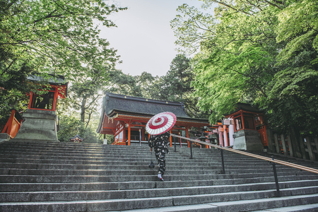 Women with Japanese umbrellas and Japan