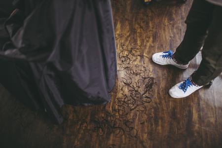 Floor and cut hair Stok Fotoğraf