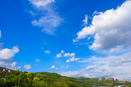 Blue sky and mountains and Japan