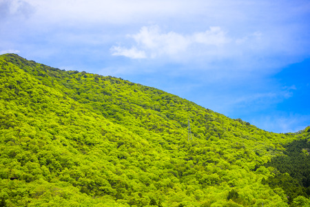 Japanese mountains and blue sky