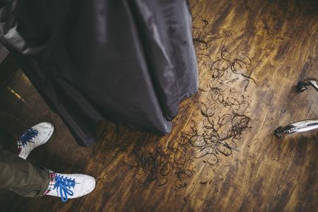 Floor and cut hair Reklamní fotografie