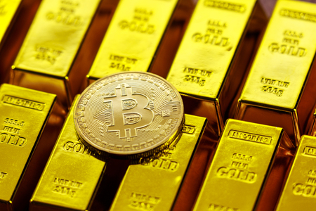 Bit coins and gold 写真素材