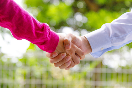 Green background and handshake