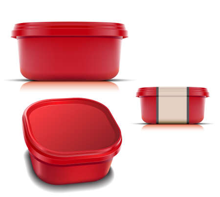 Plastic container for foods