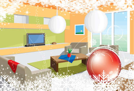 christmas room: Christmas Room Illustration
