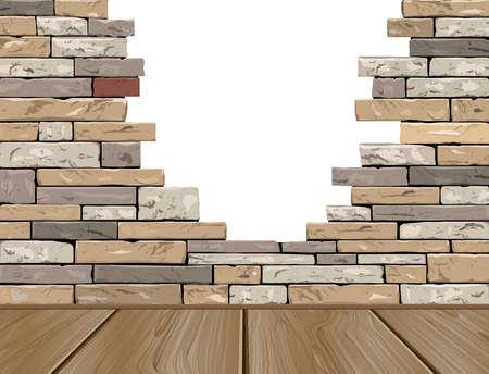gaten: gat in de bakstenen muur