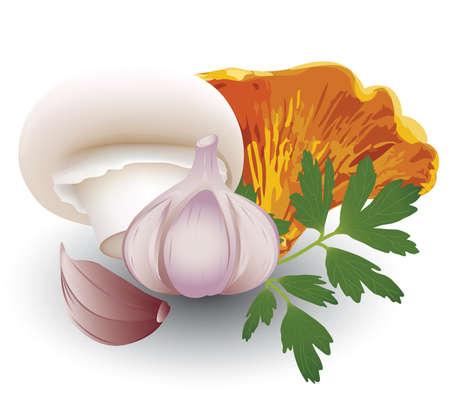garlic and mushrooms
