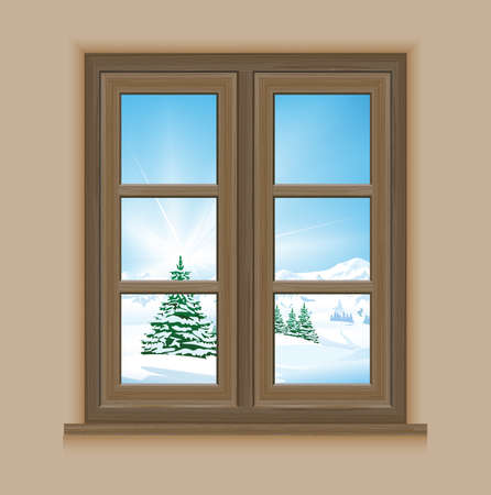 Night, Christmas, Landscape, Winter, Mountain, Christmas Tree, Snow, Tree, Vector, Blue, Holiday, Illustration and Painting, Pine Tree, Backgrounds, Idyllic, Evergreen Tree, Outdoors, Nature, Wood, Window Frame, Window, Isolated, Isolated On White, Frame,