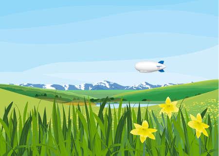 landscape with blimp Illustration