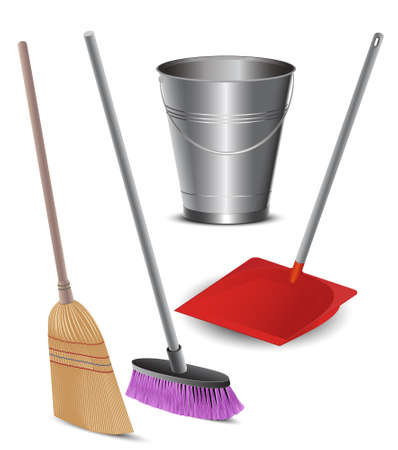 toilet brush:  Cleaning Tools Illustration