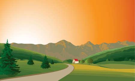 tranquil scene on urban scene: Summer sunset
