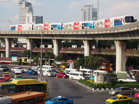 BANGKOK, THAILAND - Traffic at the Victory monument on September 20, 2014