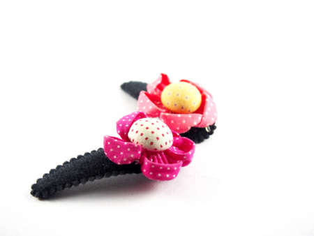 hair clip: Twin hair clip, handmade flowers, made from colorful fabric, sunflower shape, modern hair accessory, isolated on white background