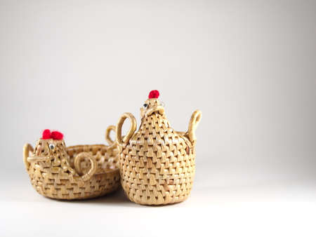 hand baskets: Baskets with chicken shape, thai wicker by water hyacinth, hand skill Stock Photo
