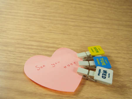See you on post it, heart shape, paper clips, Monday, Tuesday, Wednesday tag