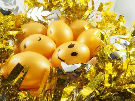 tuft: Group of easter eggs on golden tuft, happy easter day festival