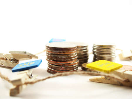 plies: Upright plies of coins, thai baht money Stock Photo
